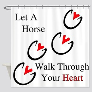 Horse Hoof Hearts Shower Curtain