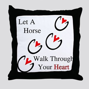 Horse Hoof Hearts Throw Pillow