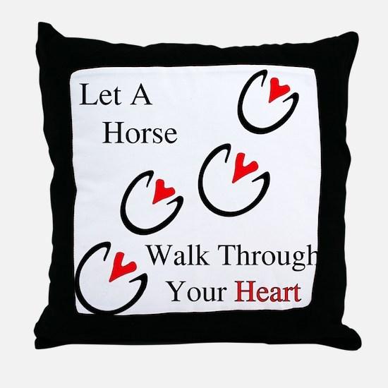 Horse Hoof Hearts Throw Pillow
