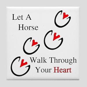 Horse Hoof Hearts Tile Coaster