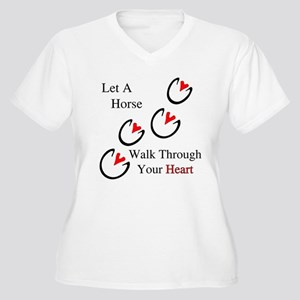 Horse Hoof Hearts Women's Plus Size V-Neck T-Shirt