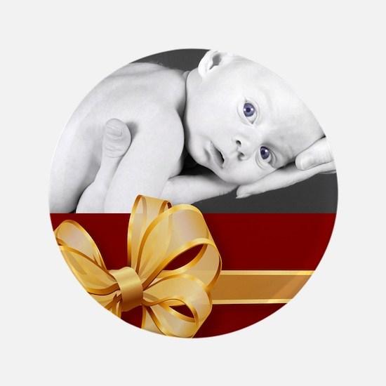 """Golden Bow/ Photo 3.5"""" Button"""