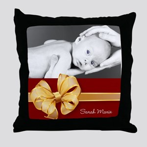Golden Bow/ Photo Throw Pillow