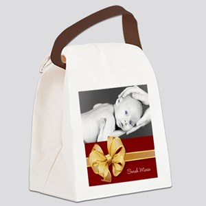 Golden Bow/ Photo Canvas Lunch Bag