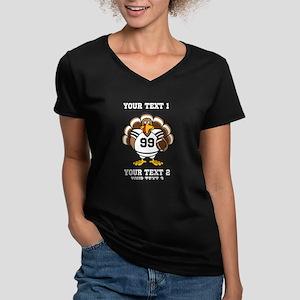 Custom Turkey Bowl Women's V-Neck Dark T-Shirt