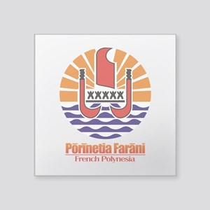 "French Polynesia COA Square Sticker 3"" x 3"""