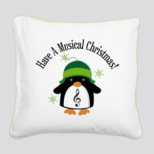 Musical Christmas Penguin Gift Square Canvas Pillo