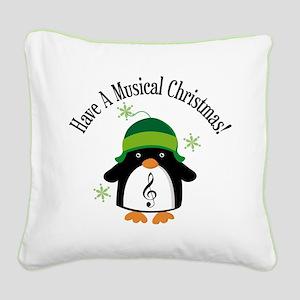 Musical Christmas Penguin Gift Square Canvas Pillo
