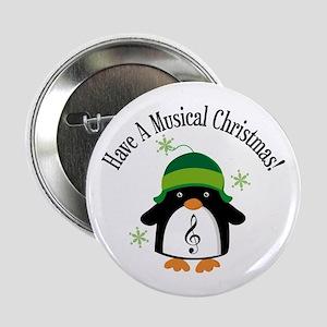 "Musical Christmas Penguin Gift 2.25"" Button"