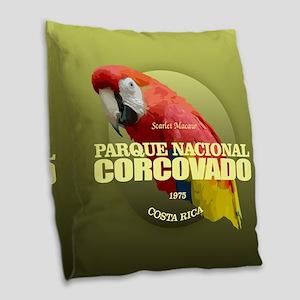 Corcovado NP Burlap Throw Pillow
