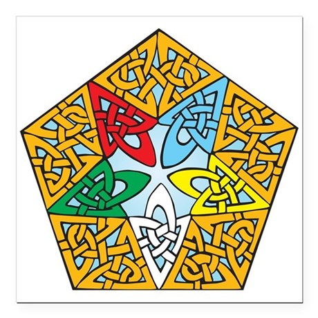 "Eastern Star Celtic Knot Square Car Magnet 3"" x 3"""