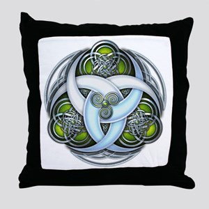 Celtic Triple Crescents - Green Throw Pillow