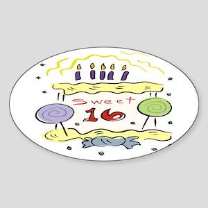 Sweet 16 Oval Sticker
