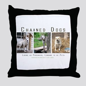 3 Chained Dogs: Longing to be Throw Pillow