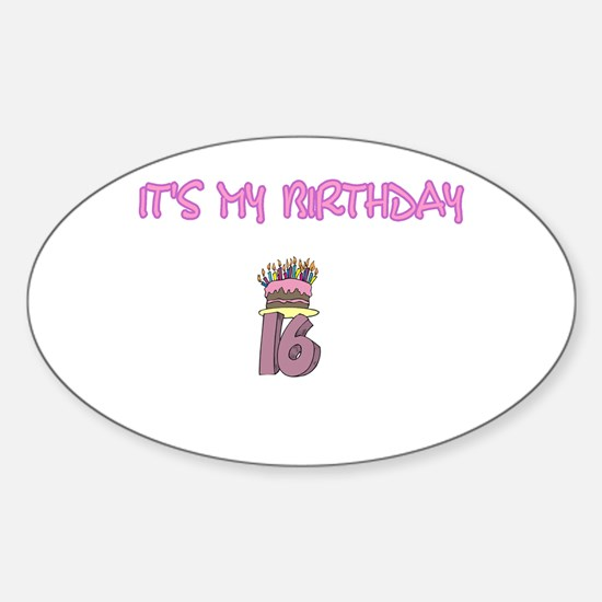 16th Birthday Oval Decal