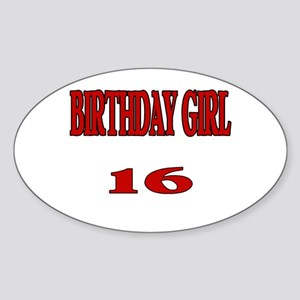Birthday Girl 16 Oval Sticker