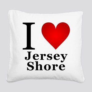 I Love Jersey Shore Square Canvas Pillow