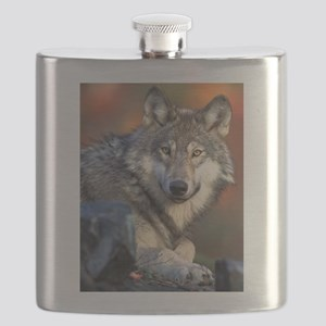 Awesome Gray Wolf Flask