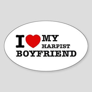 I love my Harpists boyfriend Sticker (Oval)