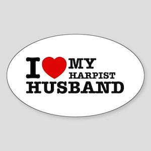 I love my Harpist husband Sticker (Oval)