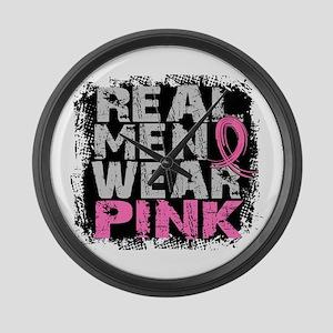 Real Men Wear Pink 1 Large Wall Clock
