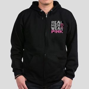 Real Men Wear Pink 1 Zip Hoodie (dark)