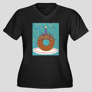Donut Women's Plus Size V-Neck Dark T-Shirt