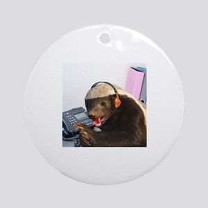 Honey Badger Round Ornament