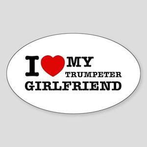 I love my Trumpeter girlfriend Sticker (Oval)