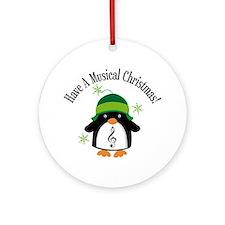 Musical Christmas Penguin Gift Ornament (Round)