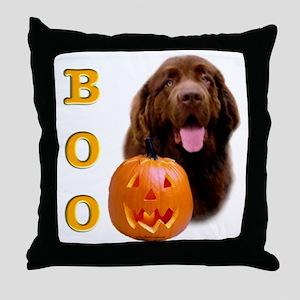Halloween Brown Newfoundland Boo Throw Pillow