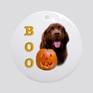 Halloween Brown Newfoundland Boo Ornament (Round)