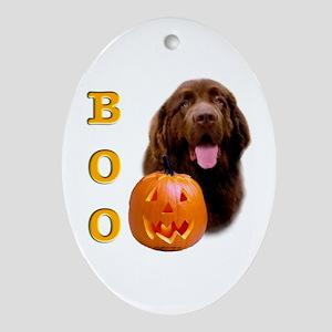 Halloween Brown Newfoundland Boo Oval Ornament