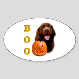 Halloween Brown Newfoundland Boo Oval Sticker