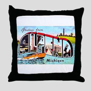 Alpena Michigan Greetings Throw Pillow