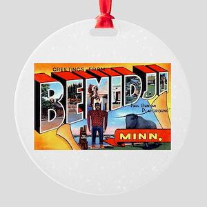 Bemidji Minnesota Greetings Round Ornament