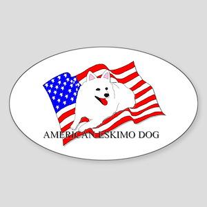 American Eskimo Dog USA Sticker (Oval)