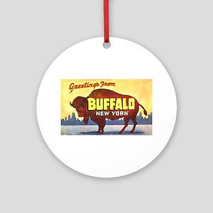 Buffalo New York Greetings Ornament (Round)