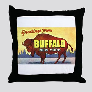 Buffalo New York Greetings Throw Pillow