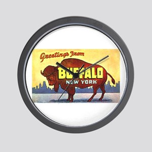 Buffalo New York Greetings Wall Clock