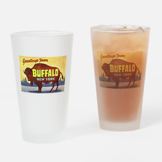 Buffalo New York Greetings Drinking Glass