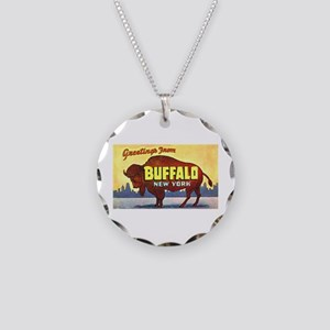 Buffalo New York Greetings Necklace Circle Charm