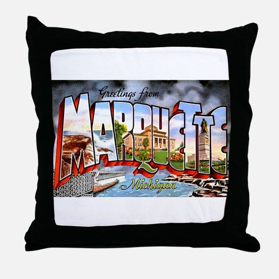 Marquette Michigan Greetings Throw Pillow