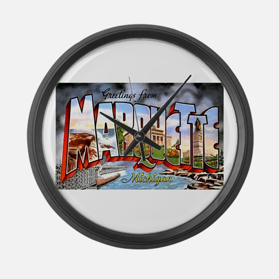 Marquette Michigan Greetings Large Wall Clock