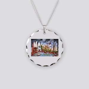 Marquette Michigan Greetings Necklace Circle Charm