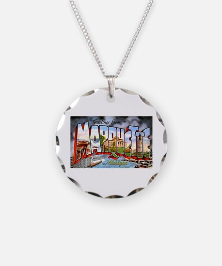 Marquette Michigan Greetings Necklace
