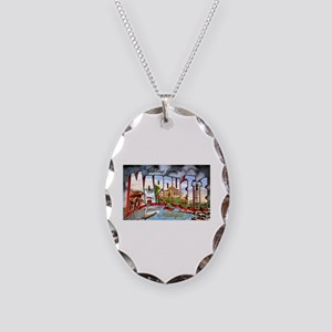Marquette Michigan Greetings Necklace Oval Charm