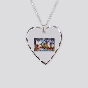 Marquette Michigan Greetings Necklace Heart Charm
