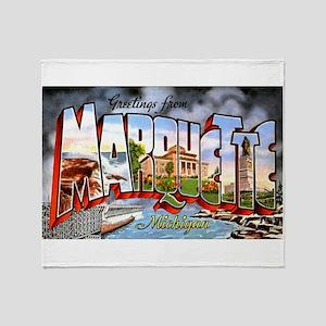 Marquette Michigan Greetings Throw Blanket