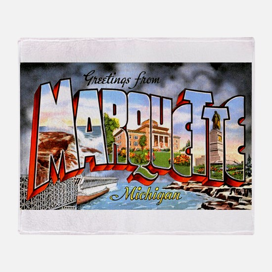 Marquette Michigan Greetings Throw Blanket